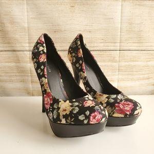 New Platform Stilettos Floral High Heels 10
